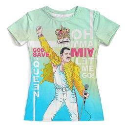"""Футболка с полной запечаткой (женская) """"Freddie Mercury"""" - музыка, фредди меркьюри, freddie mercury, квин, богемская рапсодия"""
