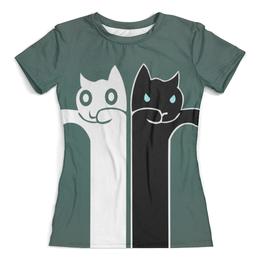 """Футболка с полной запечаткой (женская) """"Белый кот , чёрная кошка  (1)"""" - кошечки"""