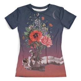 """Футболка с полной запечаткой (женская) """"Букет"""" - арт, цветы, космос, абстракция, космонавт"""