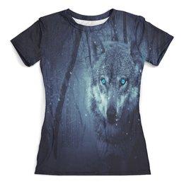 """Футболка с полной запечаткой (женская) """"Волчий взгляд"""" - хищник, животные, снег, природа, волк"""