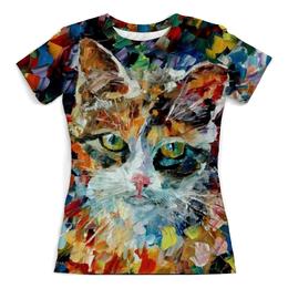 """Футболка с полной запечаткой (женская) """"Картина маслом"""" - кот, кошка, картина, масло"""