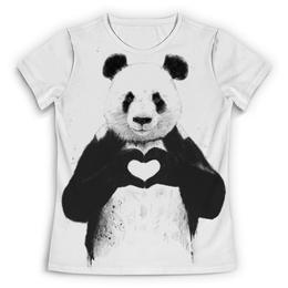 """Футболка с полной запечаткой (Женская) """"Панда"""" - сердце, панда, panda"""