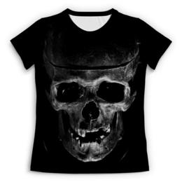 """Футболка с полной запечаткой (Женская) """"Skull"""" - череп, кости, тьма"""