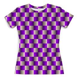"""Футболка с полной запечаткой (женская) """"Иллюзия шахматная доска 3"""" - орнамент, абстракция, геометрия, иллюзия"""