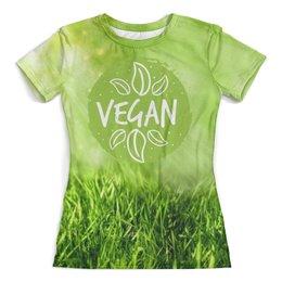 """Футболка с полной запечаткой (женская) """"Go Vegan!"""" - природа, веган, go vegan"""