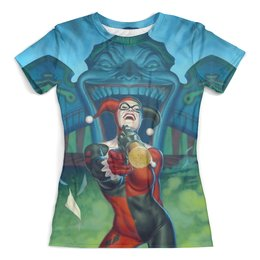 """Футболка с полной запечаткой (женская) """"Harley Quinn"""" - харли квинн, dc комиксы, суперзлодейка, юмор"""