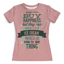 """Футболка с полной запечаткой (женская) """"Ice cream """" - надпись, мороженое"""