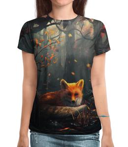 """Футболка с полной запечаткой (Женская) """"Лиса в лесу"""" - арт, оранжевый, осень, лес, лиса"""