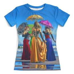 """Футболка с полной запечаткой (женская) """"Umbrellas"""" - жене, море, искусство, женщине, зонтики"""