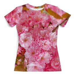 """Футболка с полной запечаткой (женская) """"Розовое цветение"""" - цветы, розовый, фотография"""