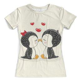 """Футболка с полной запечаткой (женская) """"Влюбленные пингвины"""" - пингвины, любовь, подарок, парные"""