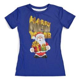 """Футболка с полной запечаткой (женская) """"Новый год"""" - праздник, новый год, зима, дед мороз, санта"""