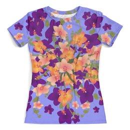 """Футболка с полной запечаткой (женская) """"Цветы. Орхидеи. Цветочная фантазия."""" - лето, цветы, букет, орхидея, цветочный узор"""