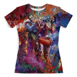 """Футболка с полной запечаткой (женская) """"The Joker&Harley Quinn Design"""" - джокер, харли квинн, отряд самоубийц, суперзлодеи, любителям комиксов"""