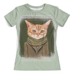 """Футболка с полной запечаткой (женская) """"Кот в пальто"""" - кот, прикол, арт, рисунок, одежда"""
