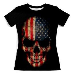 """Футболка с полной запечаткой (женская) """"Череп/Флаг США"""" - skull, череп, америка, usa, флаг"""
