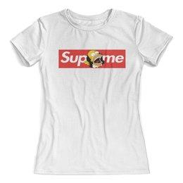 """Футболка с полной запечаткой (женская) """"Supreme"""" - надписи, лягушка, supreme, жаба, суприм"""