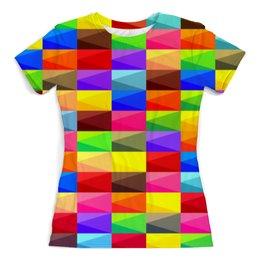 """Футболка с полной запечаткой (женская) """"Цветные кубики"""" - полосы, абстракция, color, paint, линии"""