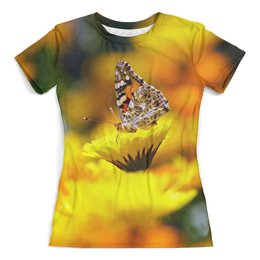 """Футболка с полной запечаткой (женская) """"Бабочка"""" - бабочка, цветок, животные, девушкам, природа"""