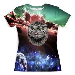 """Футболка с полной запечаткой (женская) """"Кот в космосе"""" - кот, звезды, котенок, космос, коты в космосе"""