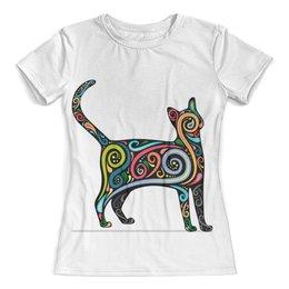 """Футболка с полной запечаткой (женская) """"Cat/ кошка"""" - арт, cat, кошка"""