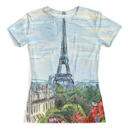 """Футболка с полной запечаткой (женская) """"Париж"""" - арт, страны, город, франция, париж"""