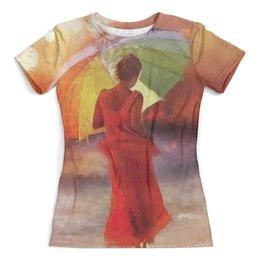 """Футболка с полной запечаткой (женская) """"Под зонтиком"""" - дождь, зонт, под зонтиком"""