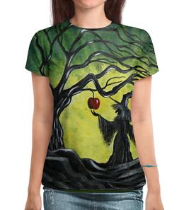 """Футболка с полной запечаткой """"Заколдованное яблоко"""" - сказка, волшебство, колдунья, майка для девушки, любимой девушке"""