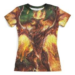 """Футболка с полной запечаткой (женская) """"огненный дракон"""" - арт, крылья, дракон, огонь, феникс"""