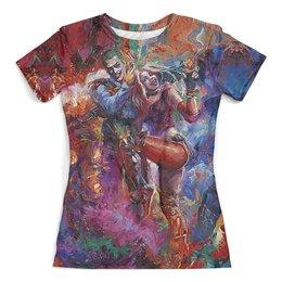 """Футболка с полной запечаткой (женская) """"The Joker&Harley Quinn Design_"""" - суперзлодеи, отряд самоубийц, dc комиксы, харли квинн, джокер"""