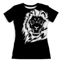 """Футболка с полной запечаткой (женская) """"Король лев"""" - африка, мудрость, сила, смелость, симба"""