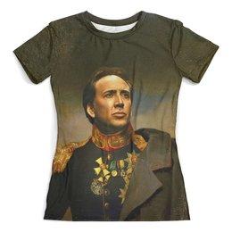 """Футболка с полной запечаткой (женская) """"Nicolas Cage """" - актёр"""