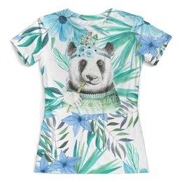 """Футболка с полной запечаткой (женская) """"Панда и цветы"""" - панда, животные, природа, цветы, листья"""