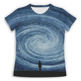 """Футболка с полной запечаткой (Женская) """"Stargazer"""" - звезды, космос, человек, небо"""