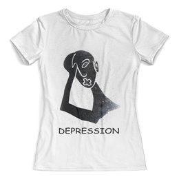 """Футболка с полной запечаткой (женская) """"DEPRESSION"""" - арт, sawaklimowa brand"""