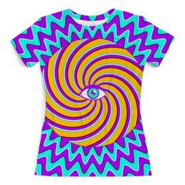 """Футболка с полной запечаткой (женская) """"HYPNO EYE"""" - арт, дизайн, графика, абстракция, optical illusion"""