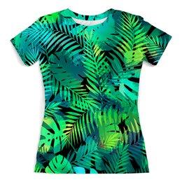 """Футболка с полной запечаткой (женская) """"Abstract Design"""" - жене, пальма, листья, флора, моднице"""