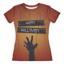 """Футболка с полной запечаткой (женская) """"Хэллоуин (1)"""" - прикол, ужасы, мистика, рука зомби"""