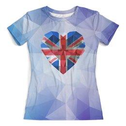 """Футболка с полной запечаткой (женская) """"Британский флаг"""" - кристалл"""