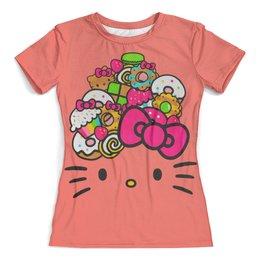 "Футболка с полной запечаткой (женская) ""Hello Kitty"" - кошка, арт, hello kitty, мультфильм, хелло китти"