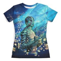 """Футболка с полной запечаткой (женская) """"Leviathan"""" - море, фантастика, под водой, левиафан, человек-амфибия"""