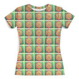 """Футболка с полной запечаткой (женская) """"Мозаика"""" - узоры, мозаика, геометрия, разноцветная мозаика, зелёный красный жёлтый"""