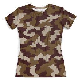 """Футболка с полной запечаткой (женская) """"Brown Pixel"""" - 23 февраля, армия, камуфляж, пиксели, силовые структуры"""