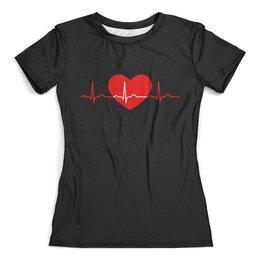 """Футболка с полной запечаткой (женская) """"Сердце"""" - сердце, сердца, рисунок, сердечки, линия жизни"""