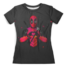 """Футболка с полной запечаткой (женская) """"Deadpool Love"""" - любовь, юмор, дэдпул, влюбленность, марвел комиксы"""