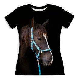 """Футболка с полной запечаткой (женская) """"Лошадь"""" - животные, лошадь, природа, конь, грива"""
