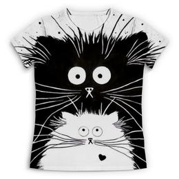 """Футболка с полной запечаткой (Женская) """"Кот и Кошка"""" - кот, кошка, рисунок, чёрное и белое"""