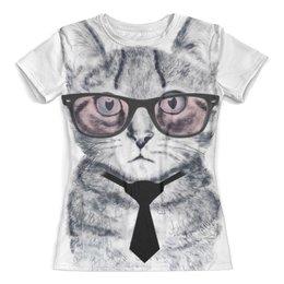 """Футболка с полной запечаткой (женская) """"Умный Кот"""" - кот, очки, галстук"""