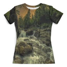 """Футболка с полной запечаткой (женская) """"Природа"""" - лес, деревья, природа, вода, озеро"""