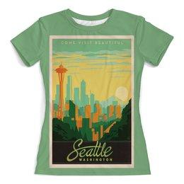 """Футболка с полной запечаткой (женская) """"Сиэтл"""" - ретро, америка, винтаж, постер"""